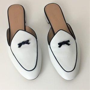 J. Crew Piped Loafer/Mules in Leather with bows